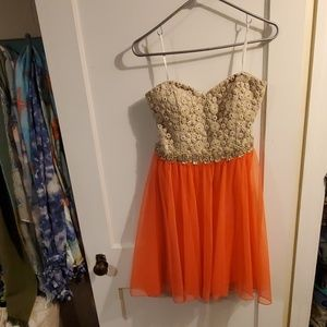 Deb Dresses - Gold and coral strapless dress